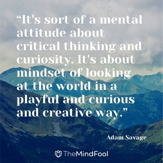 """It's sort of a mental attitude about critical thinking and curiosity. It's about mindset of looking at the world in a playful and curious and creative way."" - Adam Savage"