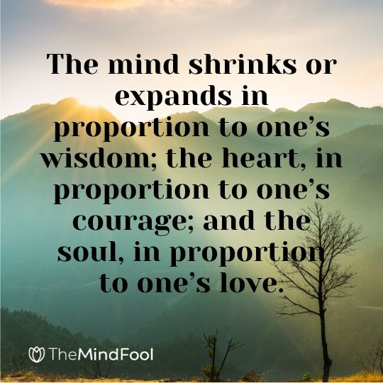 The mind shrinks or expands in proportion to one's wisdom; the heart, in proportion to one's courage; and the soul, in proportion to one's love.