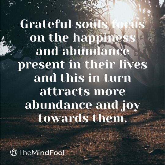 Grateful souls focus on the happiness and abundance present in their lives and this in turn attracts more abundance and joy towards them.