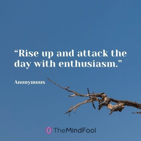 """Rise up and attack the day with enthusiasm."" —Anonymous"