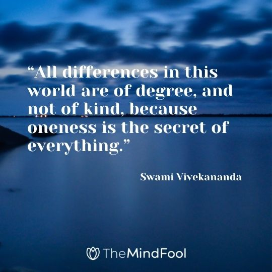 """All differences in this world are of degree, and not of kind, because oneness is the secrethe t of everything."" – Swami Vivekananda"