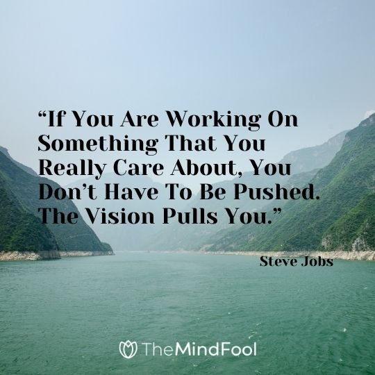 """If You Are Working On Something That You Really Care About, You Don't Have To Be Pushed. The Vision Pulls You."" – Steve Jobs"