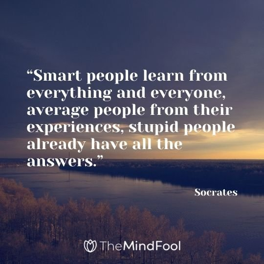 """Smart people learn from everything and everyone, average people from their experiences, stupid people already have all the answers."" – Socrates"