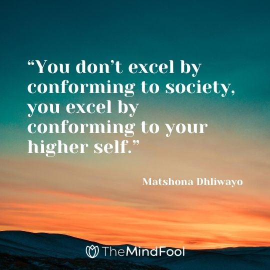 """""""You don't excel by conforming to society, you excel by conforming to your higher self."""" ― Matshona Dhliwayo"""