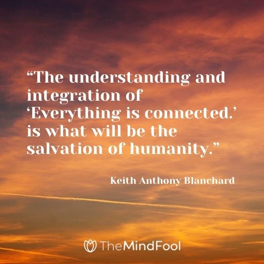 """""""The understanding and integration of 'Everything is connected.' is what will be the salvation of humanity."""" ― Keith Anthony Blanchard"""