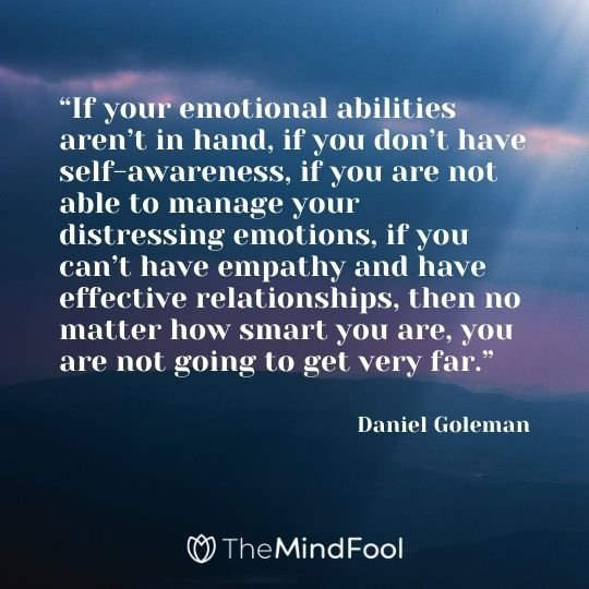"""""""If your emotional abilities aren't in hand, if you don't have self-awareness, if you are not able to manage your distressing emotions, if you can't have empathy and have effective relationships, then no matter how smart you are, you are not going to get very far."""" – Daniel Goleman"""