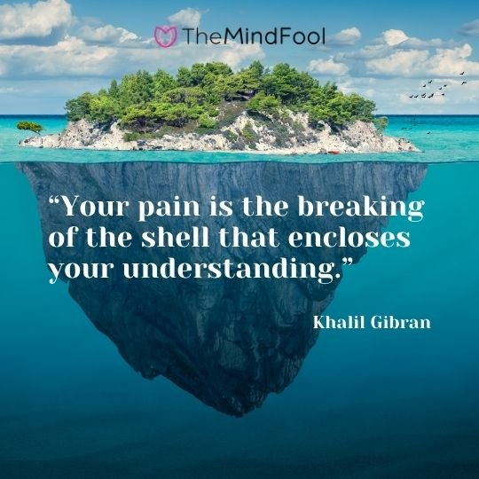 """""""Your pain is the breaking of the shell that encloses your understanding.""""  — Khalil Gibran"""
