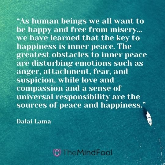 """""""As human beings we all want to be happy and free from misery… we have learned that the key to happiness is inner peace. The greatest obstacles to inner peace are disturbing emotions such as anger, attachment, fear, and suspicion, while love and compassion and a sense of universal responsibility are the sources of peace and happiness.""""  — Dalai Lama"""