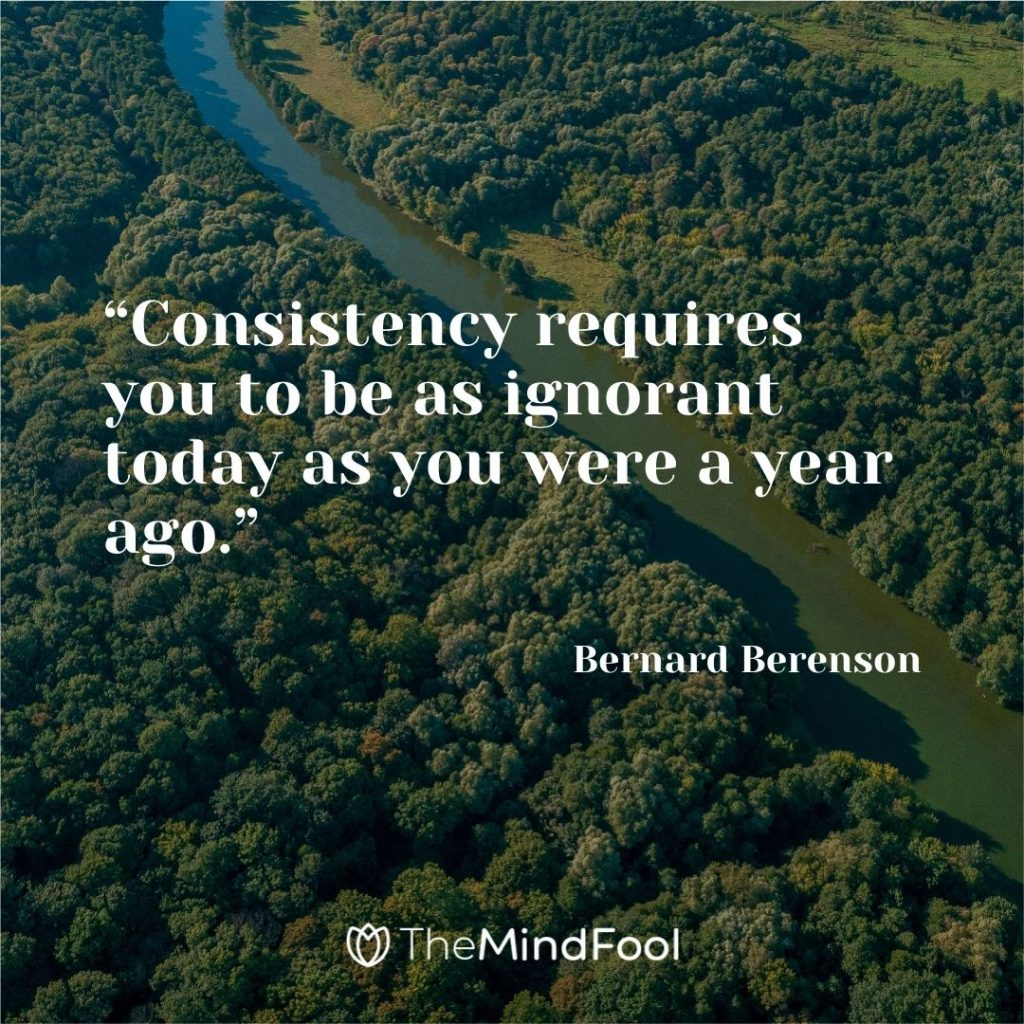 """""""Consistency requires you to be as ignorant today as you were a year ago."""" ― Bernard Berenson"""