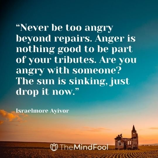 """Never be too angry beyond repairs. Anger is nothing good to be part of your tributes. Are you angry with someone? The sun is sinking, just drop it now."" ― Israelmore Ayivor"