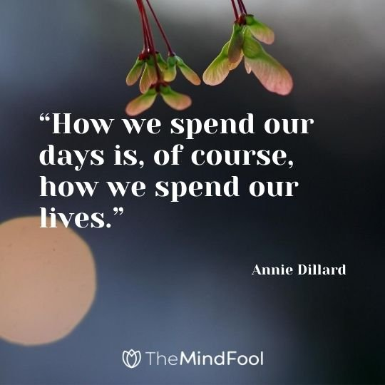 """How we spend our days is, of course, how we spend our lives."" - Annie Dillard"