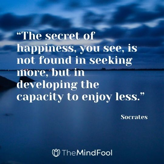 """The secret of happiness, you see, is not found in seeking more, but in developing the capacity to enjoy less."" - Socrates"