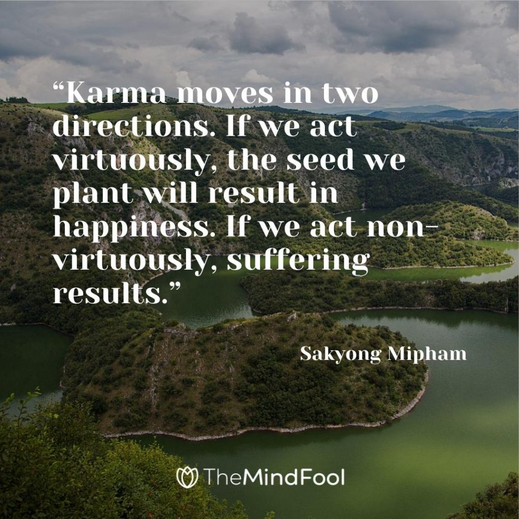 """Karma moves in two directions. If we act virtuously, the seed we plant will result in happiness. If we act non-virtuously, suffering results."" – Sakyong Mipham"