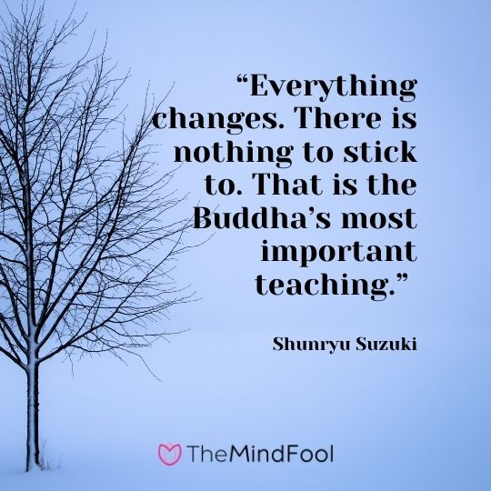 """Everything changes. There is nothing to stick to. That is the Buddha's most important teaching."" ― Shunryu Suzuki"