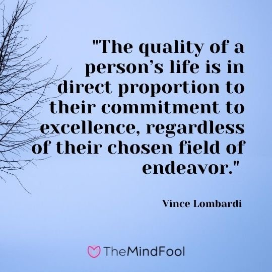 """The quality of a person's life is in direct proportion to their commitment to excellence, regardless of their chosen field of endeavor."" — Vince Lombardi"
