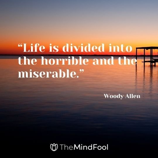 """Life is divided into the horrible and the miserable."" — Woody Allen"