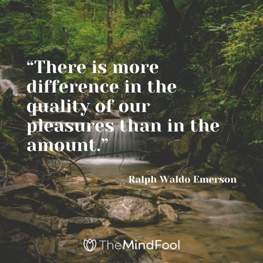 """""""There is more difference in the quality of our pleasures than in the amount."""" – Ralph Waldo Emerson"""