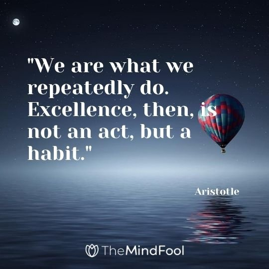 """We are what we repeatedly do. Excellence, then, is not an act, but a habit."" — Aristotle"