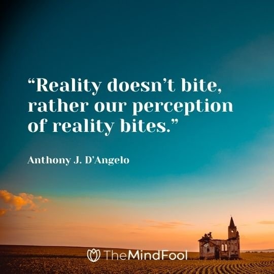 """Reality doesn't bite, rather our perception of reality bites."" – Anthony J. D'Angelo"