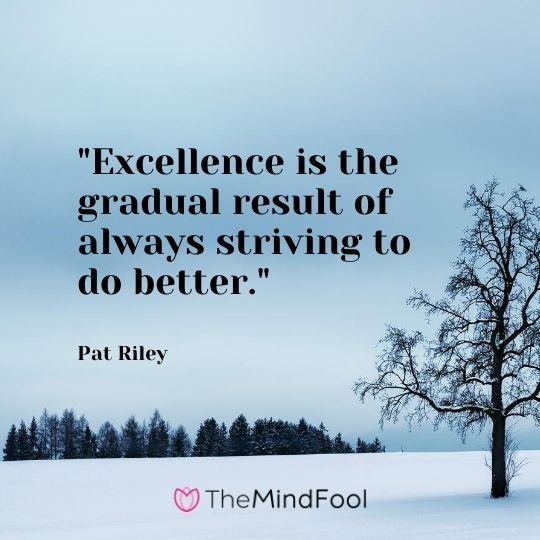 """Excellence is the gradual result of always striving to do better."" — Pat Riley"