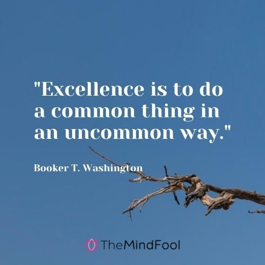 """Excellence is to do a common thing in an uncommon way."" — Booker T. Washington"