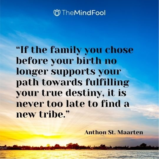 """If the family you chose before your birth no longer supports your path towards fulfilling your true destiny, it is never too late to find a new tribe."" ― Anthon St. Maarten"