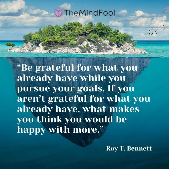 """Be grateful for what you already have while you pursue your goals. If you aren't grateful for what you already have, what makes you think you would be happy with more."" ― Roy T. Bennett"