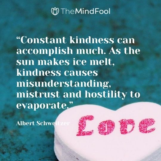 """""""Constant kindness can accomplish much. As the sun makes ice melt, kindness causes misunderstanding, mistrust and hostility to evaporate."""" — Albert Schweitzer"""