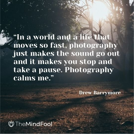 """In a world and a life that moves so fast, photography just makes the sound go out and it makes you stop and take a pause. Photography calms me."" – Drew Barrymore"