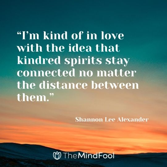 """I'm kind of in love with the idea that kindred spirits stay connected no matter the distance between them."" ― Shannon Lee Alexander"