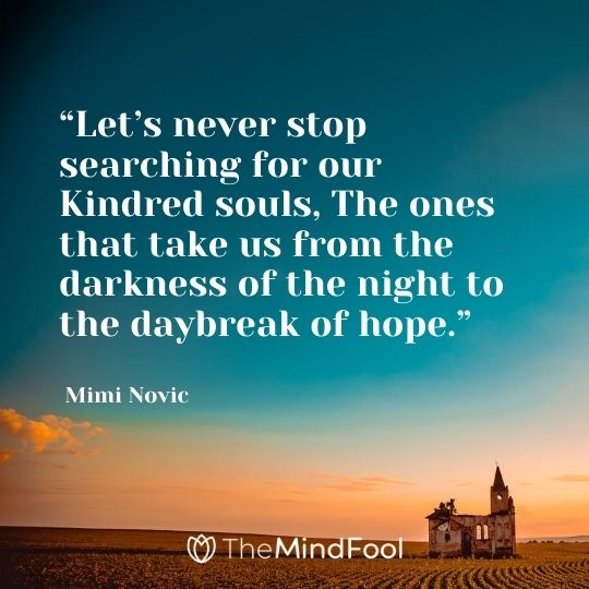 """Let's never stop searching for our Kindred souls, The ones that take us from the darkness of the night to the daybreak of hope."" ― Mimi Novic"