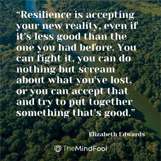 """Resilience is accepting your new reality, even if it's less good than the one you had before. You can fight it, you can do nothing but scream about what you've lost, or you can accept that and try to put together something that's good.""   ― Elizabeth Edwards"