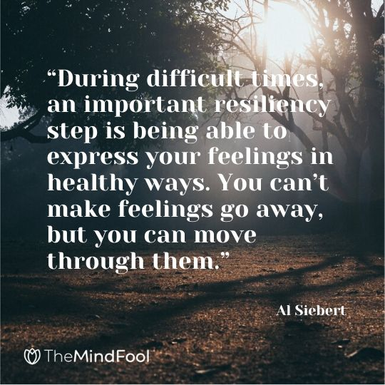 """During difficult times, an important resiliency step is being able to express your feelings in healthy ways. You can't make feelings go away, but you can move through them.""   – Al Siebert"