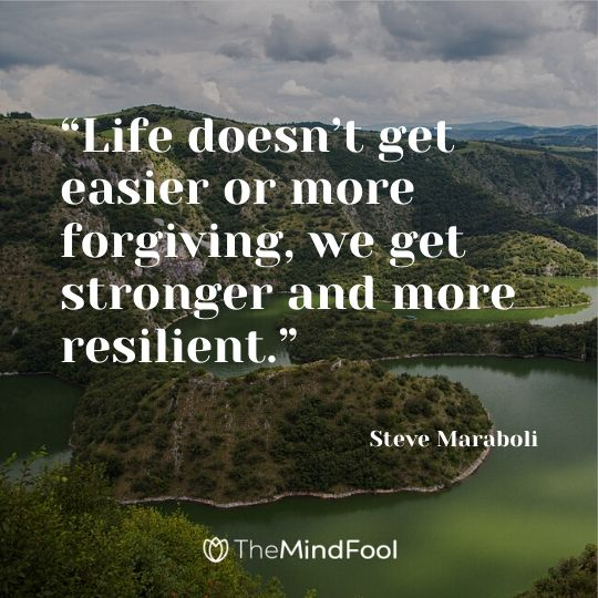 """Life doesn't get easier or more forgiving, we get stronger and more resilient.""   ― Steve Maraboli"