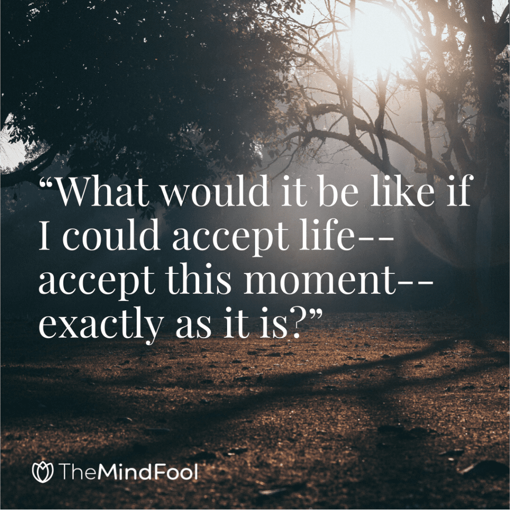 """""""What would it be like if I could accept life--accept this moment--exactly as it is?"""""""