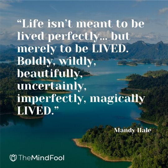 """Life isn't meant to be lived perfectly… but merely to be LIVED. Boldly, wildly, beautifully, uncertainly, imperfectly, magically LIVED."" - Mandy Hale"