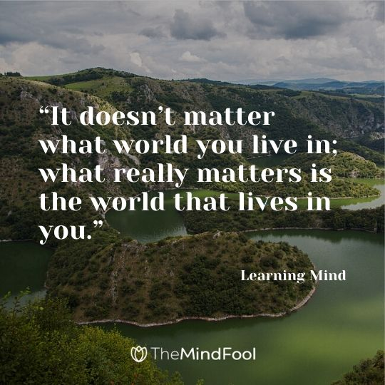 """It doesn't matter what world you live in; what really matters is the world that lives in you.""- Learning Mind"
