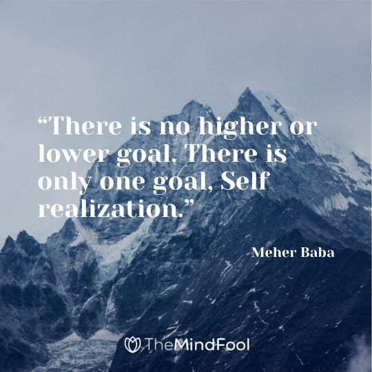 """""""There is no higher or lower goal. There is only one goal, Self realization."""" – Meher Baba"""