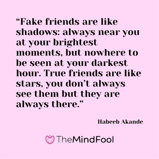 """Fake friends are like shadows: always near you at your brightest moments, but nowhere to be seen at your darkest hour. True friends are like stars, you don't always see them but they are always there."" – Habeeb Akande"