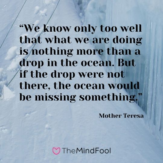 """We know only too well that what we are doing is nothing more than a drop in the ocean. But if the drop were not there, the ocean would be missing something."" -  Mother Teresa"