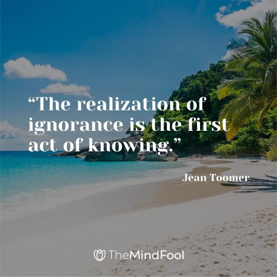 """""""The realization of ignorance is the first act of knowing."""" – Jean Toomer"""