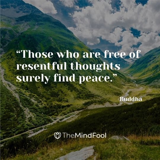 """Those who are free of resentful thoughts surely find peace."" - Buddha"