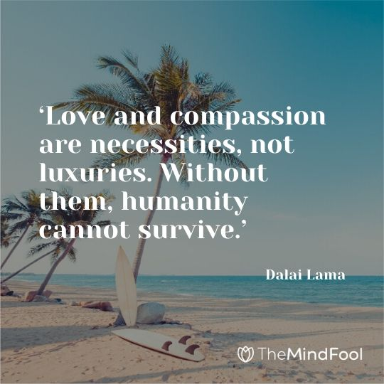 'Love and compassion are necessities, not luxuries. Without them, humanity cannot survive.' - Dalai Lama