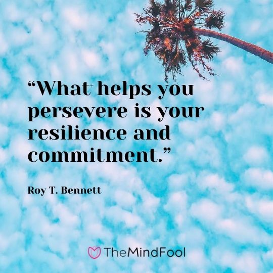 """What helps you persevere is your resilience and commitment.""  - Roy T. Bennett"