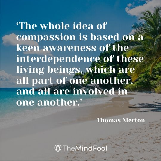 'The whole idea of compassion is based on a keen awareness of the interdependence of these living beings, which are all part of one another, and all are involved in one another.' - Thomas Merton