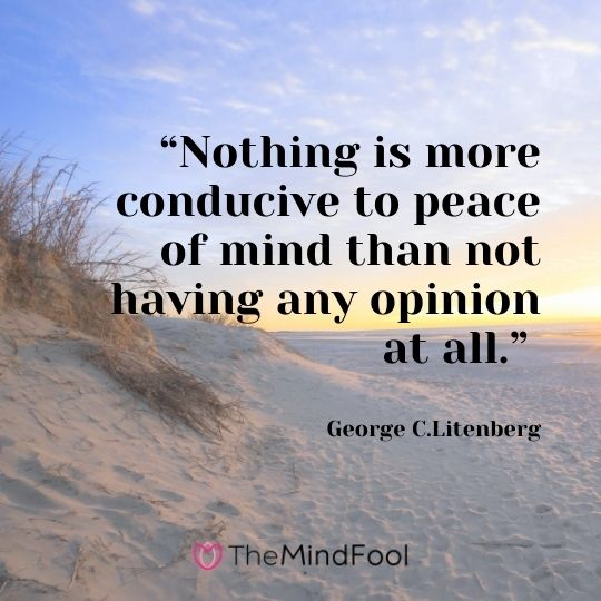 """Nothing is more conducive to peace of mind than not having any opinion at all."" – George C.Litenberg"
