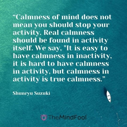 """Calmness of mind does not mean you should stop your activity. Real calmness should be found in activity itself. We say, ""It is easy to have calmness in inactivity, it is hard to have calmness in activity, but calmness in activity is true calmness."" ― Shunryu Suzuki"