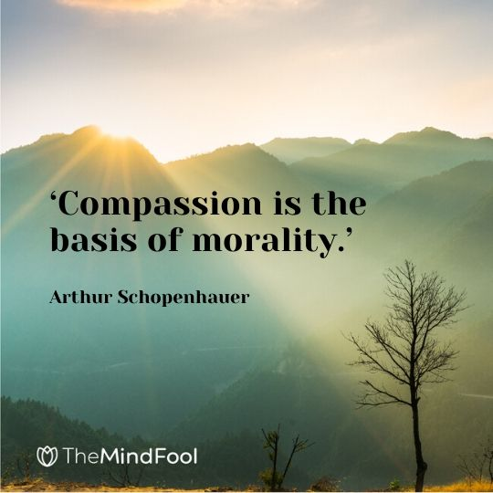 'Compassion is the basis of morality.' - Arthur Schopenhauer