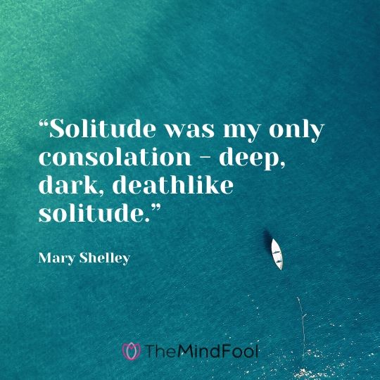 """Solitude was my only consolation - deep, dark, deathlike solitude."" - Mary Shelley"