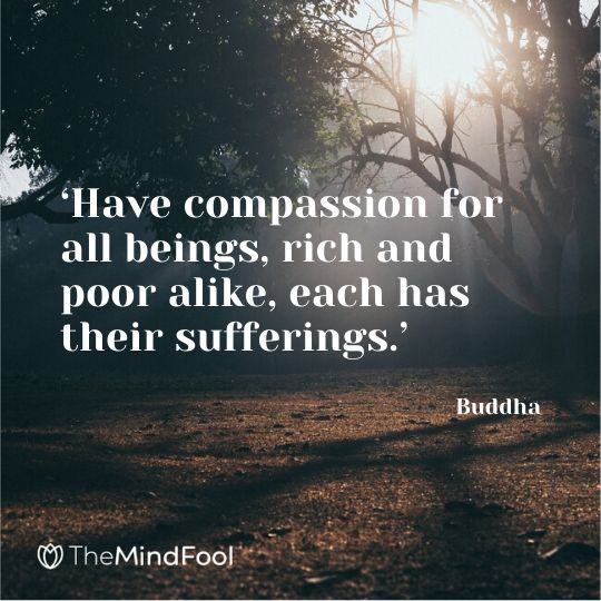 'Have compassion for all beings, rich and poor alike, each has their sufferings.' - Buddha